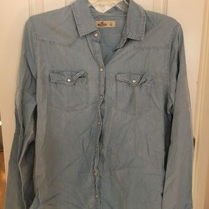 Hollister light wash denim button up shirt